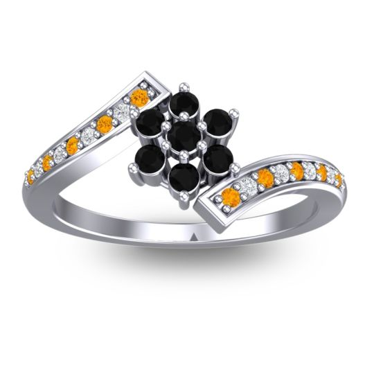 Simple Floral Pave Utpala Black Onyx Ring with Citrine and Diamond in Palladium