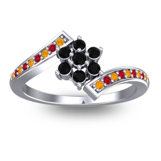 Simple Floral Pave Utpala Black Onyx Ring with Citrine and Ruby in 18k White Gold
