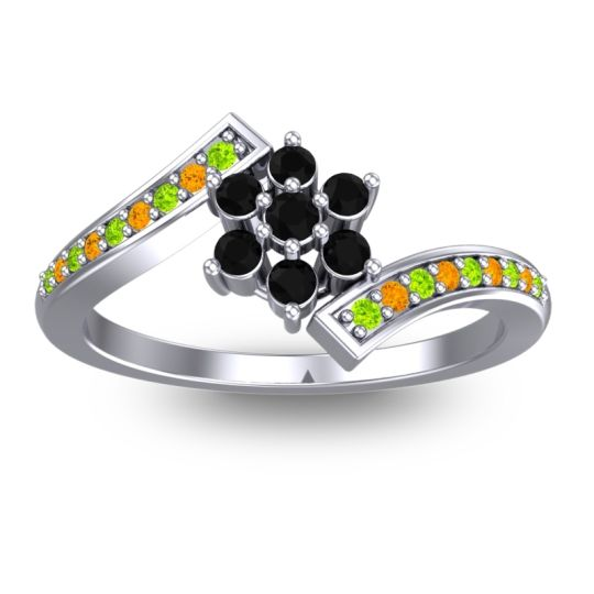 Simple Floral Pave Utpala Black Onyx Ring with Peridot and Citrine in Palladium