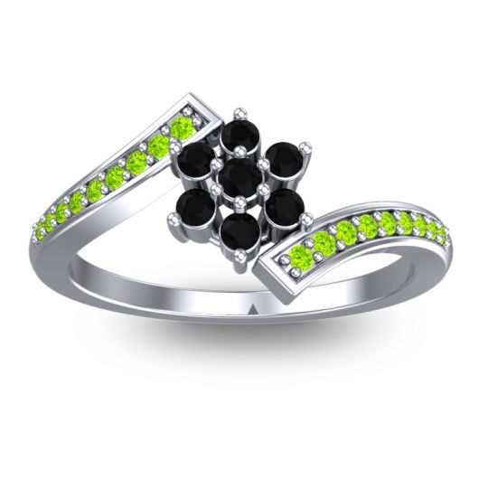 Simple Floral Pave Utpala Black Onyx Ring with Peridot in Palladium