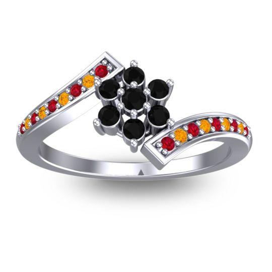 Simple Floral Pave Utpala Black Onyx Ring with Ruby and Citrine in 14k White Gold
