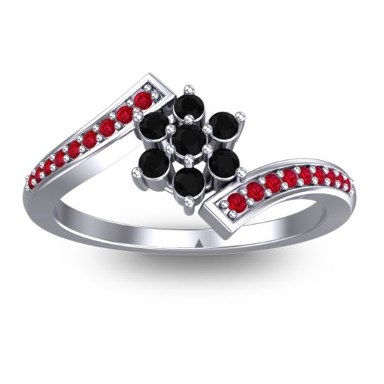 Simple Floral Pave Utpala Black Onyx Ring with Ruby in 18k White Gold