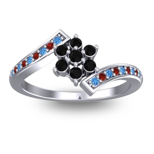 Simple Floral Pave Utpala Black Onyx Ring with Swiss Blue Topaz and Garnet in 18k White Gold