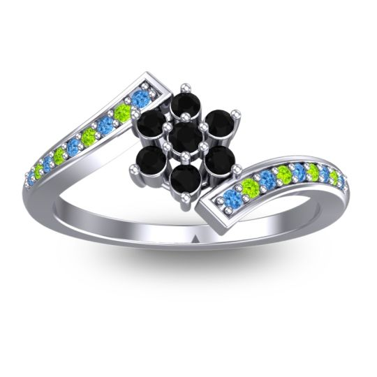Simple Floral Pave Utpala Black Onyx Ring with Swiss Blue Topaz and Peridot in 18k White Gold