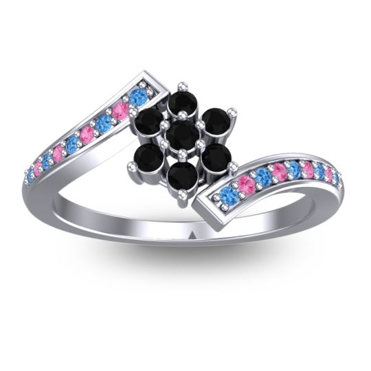 Simple Floral Pave Utpala Black Onyx Ring with Swiss Blue Topaz and Pink Tourmaline in 14k White Gold