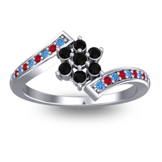 Simple Floral Pave Utpala Black Onyx Ring with Swiss Blue Topaz and Ruby in Platinum