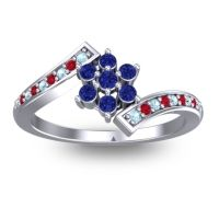 Simple Floral Pave Utpala Blue Sapphire Ring with Aquamarine and Ruby in Palladium