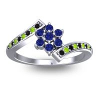 Simple Floral Pave Utpala Blue Sapphire Ring with Black Onyx and Peridot in 14k White Gold
