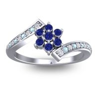 Simple Floral Pave Utpala Blue Sapphire Ring with Diamond and Aquamarine in 18k White Gold