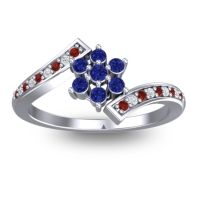 Simple Floral Pave Utpala Blue Sapphire Ring with Garnet and Diamond in Palladium