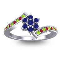 Simple Floral Pave Utpala Blue Sapphire Ring with Peridot and Ruby in 18k White Gold