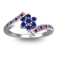 Simple Floral Pave Utpala Blue Sapphire Ring with Ruby and Swiss Blue Topaz in Palladium