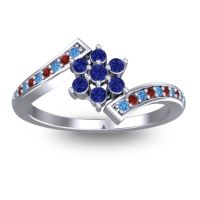 Simple Floral Pave Utpala Blue Sapphire Ring with Swiss Blue Topaz and Garnet in 14k White Gold