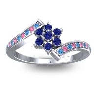 Simple Floral Pave Utpala Blue Sapphire Ring with Swiss Blue Topaz and Pink Tourmaline in Palladium
