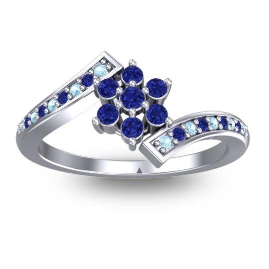 Simple Floral Pave Utpala Blue Sapphire Ring with Aquamarine in Palladium