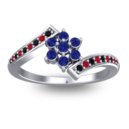 Simple Floral Pave Utpala Blue Sapphire Ring with Black Onyx and Ruby in Palladium