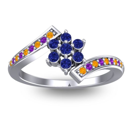 Simple Floral Pave Utpala Blue Sapphire Ring with Citrine and Amethyst in 18k White Gold