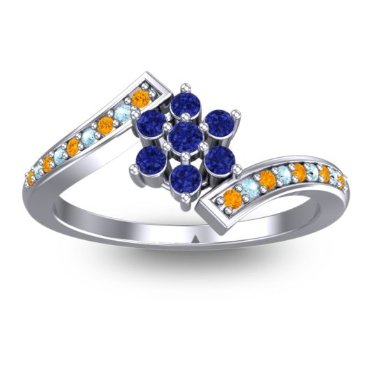 Simple Floral Pave Utpala Blue Sapphire Ring with Citrine and Aquamarine in 14k White Gold