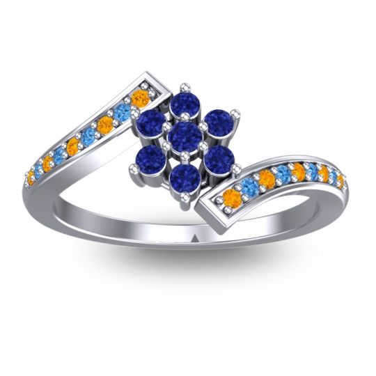 Simple Floral Pave Utpala Blue Sapphire Ring with Citrine and Swiss Blue Topaz in 14k White Gold