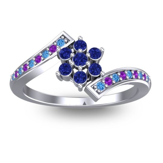 Simple Floral Pave Utpala Blue Sapphire Ring with Swiss Blue Topaz and Amethyst in 14k White Gold