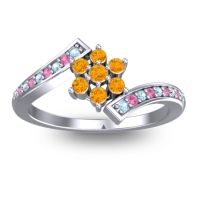 Simple Floral Pave Utpala Citrine Ring with Aquamarine and Pink Tourmaline in Platinum