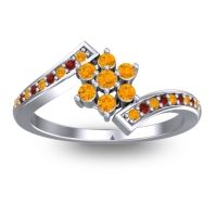 Simple Floral Pave Utpala Citrine Ring with Garnet in 14k White Gold