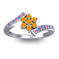 Simple Floral Pave Utpala Citrine Ring with Pink Tourmaline and Swiss Blue Topaz in 18k White Gold