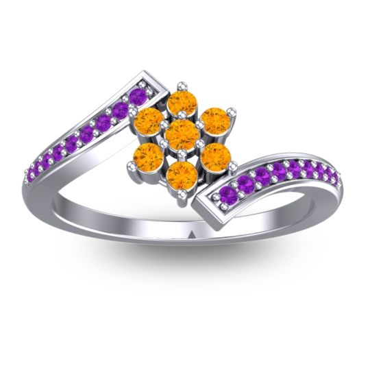 Simple Floral Pave Utpala Citrine Ring with Amethyst in Platinum