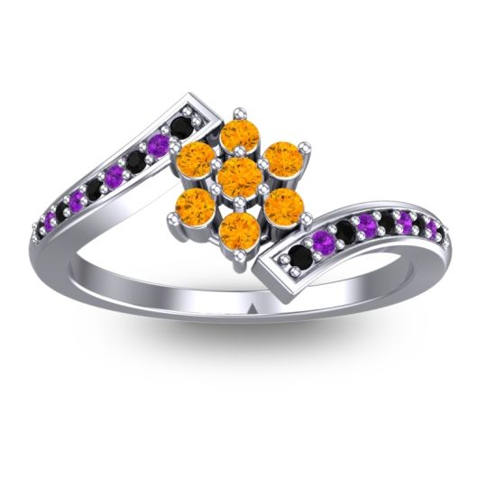 Simple Floral Pave Utpala Citrine Ring with Black Onyx and Amethyst in 14k White Gold