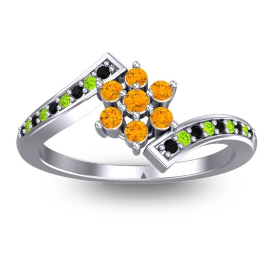 Simple Floral Pave Utpala Citrine Ring with Black Onyx and Peridot in 18k White Gold