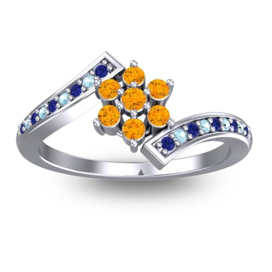 Simple Floral Pave Utpala Citrine Ring with Blue Sapphire and Aquamarine in 18k White Gold