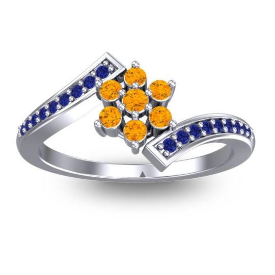Simple Floral Pave Utpala Citrine Ring with Blue Sapphire in 18k White Gold