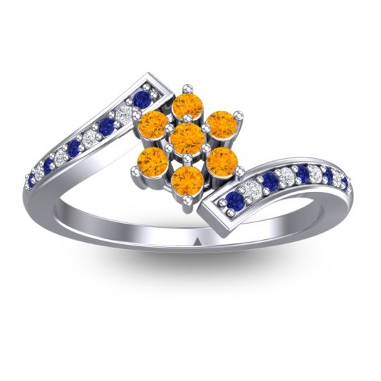 Simple Floral Pave Utpala Citrine Ring with Blue Sapphire and Diamond in Palladium