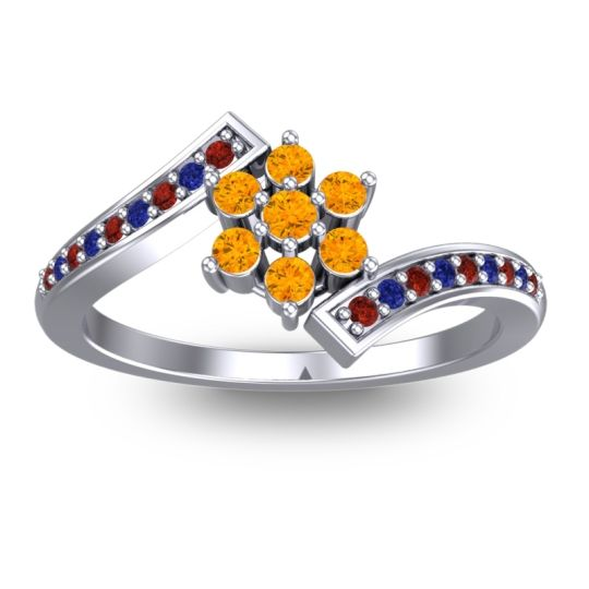 Simple Floral Pave Utpala Citrine Ring with Garnet and Blue Sapphire in 14k White Gold