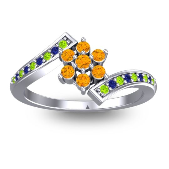 Simple Floral Pave Utpala Citrine Ring with Peridot and Blue Sapphire in 14k White Gold