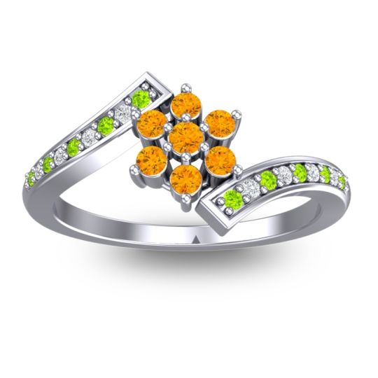 Simple Floral Pave Utpala Citrine Ring with Peridot and Diamond in 18k White Gold