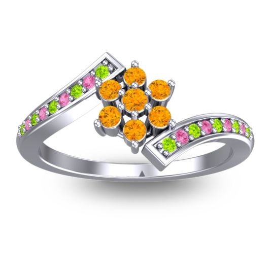 Simple Floral Pave Utpala Citrine Ring with Peridot and Pink Tourmaline in Platinum