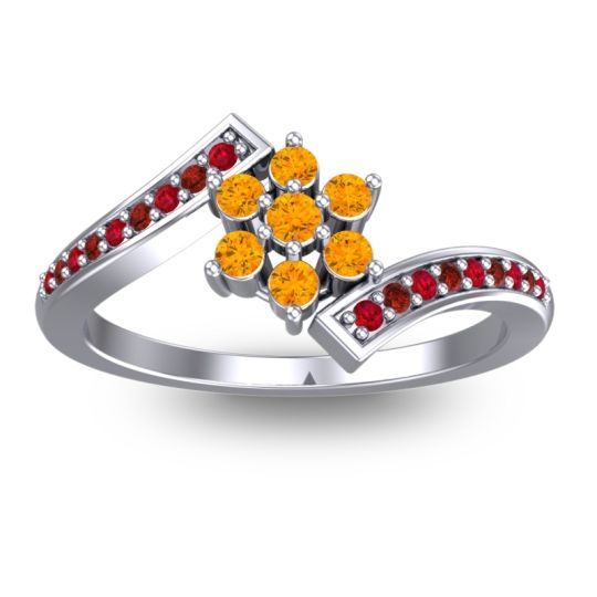 Simple Floral Pave Utpala Citrine Ring with Ruby and Garnet in Palladium
