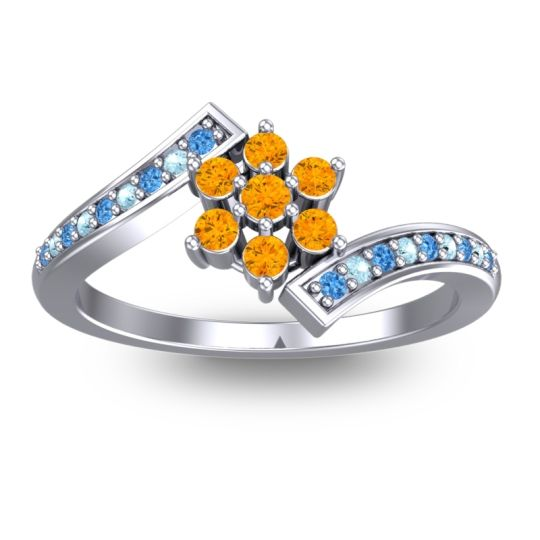 Simple Floral Pave Utpala Citrine Ring with Swiss Blue Topaz and Aquamarine in 14k White Gold