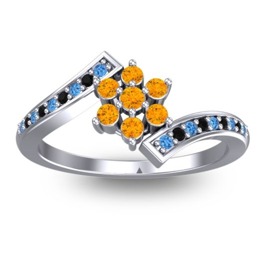 Simple Floral Pave Utpala Citrine Ring with Swiss Blue Topaz and Black Onyx in 18k White Gold