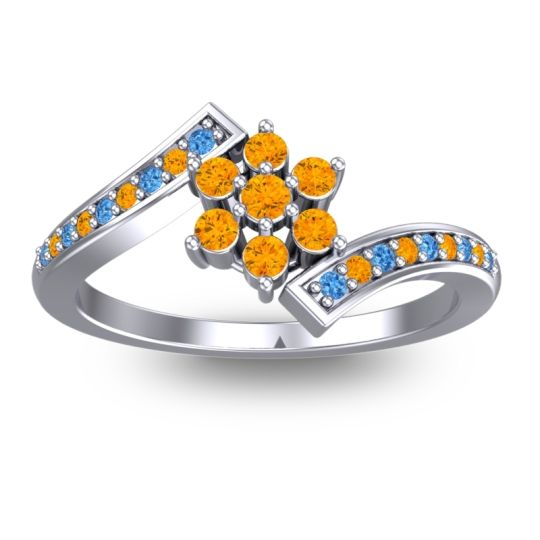 Citrine Simple Floral Pave Utpala Ring with Swiss Blue Topaz in 18k White Gold