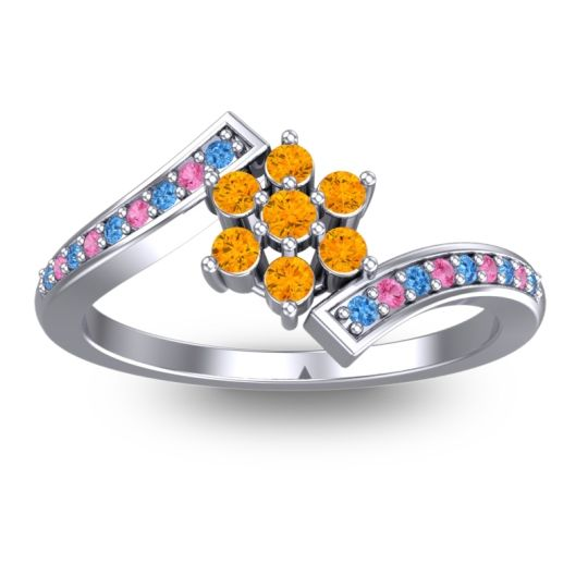 Citrine Simple Floral Pave Utpala Ring with Swiss Blue Topaz and Pink Tourmaline in 14k White Gold