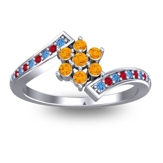 Citrine Simple Floral Pave Utpala Ring with Swiss Blue Topaz and Ruby in Platinum