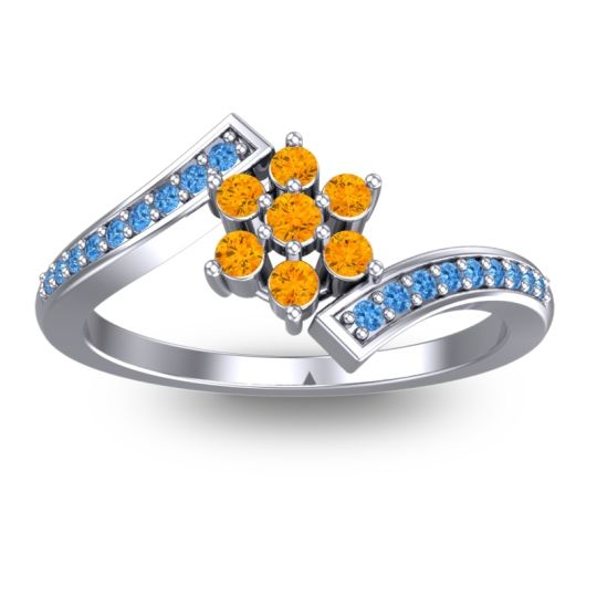 Simple Floral Pave Utpala Citrine Ring with Swiss Blue Topaz in 14k White Gold