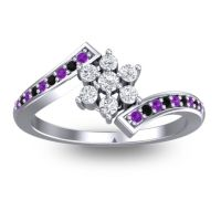 Simple Floral Pave Utpala Diamond Ring with Amethyst and Black Onyx in 14k White Gold