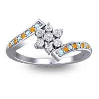 Simple Floral Pave Utpala Diamond Ring with Aquamarine and Citrine in 14k White Gold