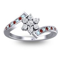 Simple Floral Pave Utpala Diamond Ring with Aquamarine and Garnet in 14k White Gold