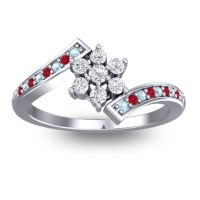 Simple Floral Pave Utpala Diamond Ring with Aquamarine and Ruby in Palladium