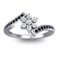 Simple Floral Pave Utpala Diamond Ring with Black Onyx in Palladium