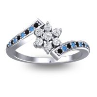 Simple Floral Pave Utpala Diamond Ring with Black Onyx and Swiss Blue Topaz in Palladium